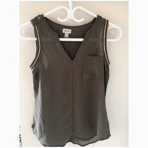 Dynamite olive green tank top blouse